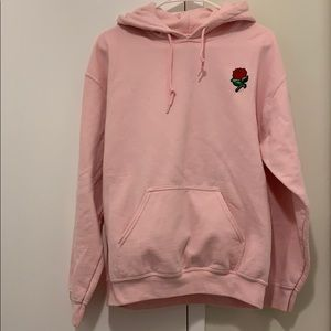 Artist Union Pink Hoodie with Rose